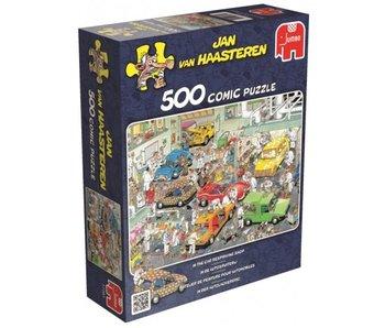 Jumbo 500pc. In The Car Respraying Shop - Jan van Haasteren