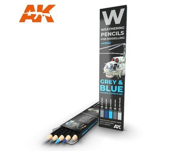 AK Interactive Watercolor Pencil Set Grey And Blue Camouflages