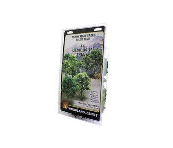 "Woodland Scenics Ready - Mixed Green deciduous (3"" - 5"") (14/Pk) TR1572"