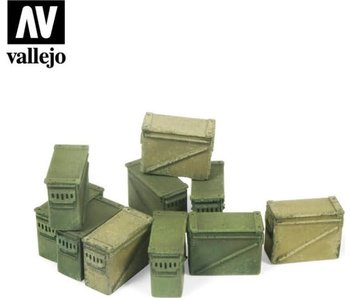 Vallejo Large Ammo boxes 12.7Mm - 10 Pieces (1/35) (SC221)