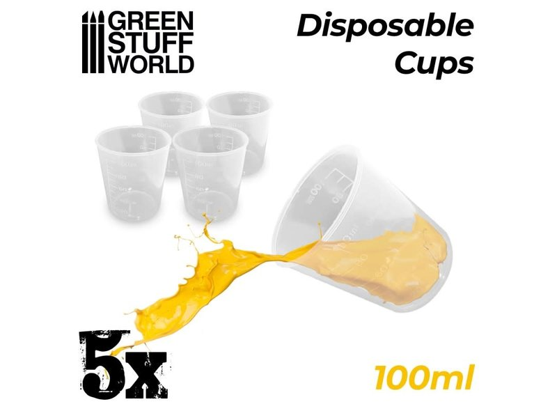 Green Stuff World GSW 5x Disposable Measuring Cups 100ml