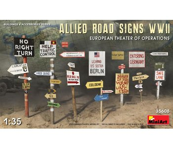 Miniart Allied Road Signs WWII European Theatre Of Operations