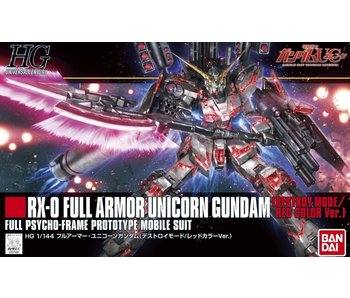 Bandai #199 Full Armor Unicorn Gundam ((Destroy Mode)/Red Color Ver.) Hguc 1/144