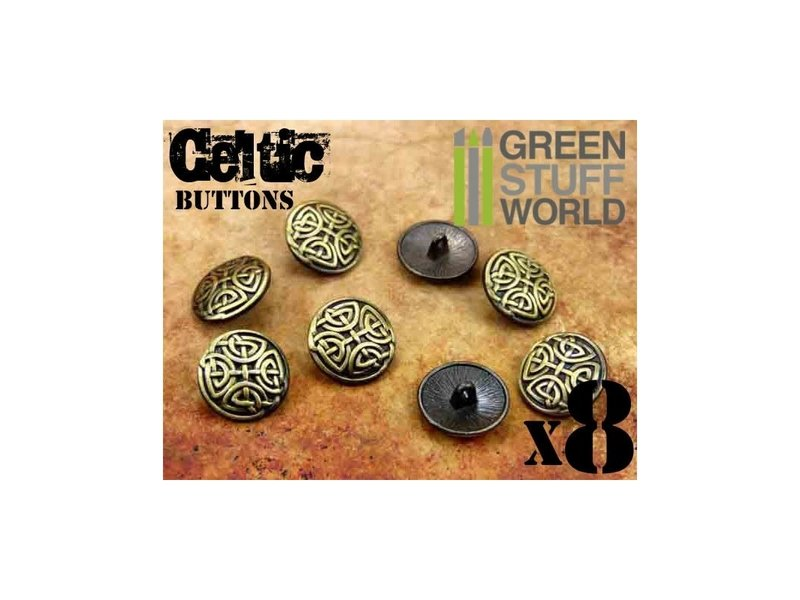 Green Stuff World GSW 8x CELTIC eternal Knuds Buttons - Antique Gold - 5/8 inches - 17mm