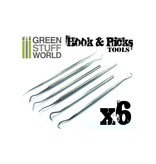 Green Stuff World GSW 6x Hook and Pick tool Set