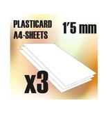Green Stuff World GSW ABS Plasticard A4 - 1.5 mm COMBOx3 sheets