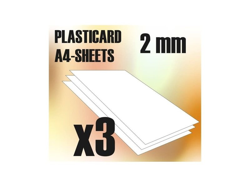 Green Stuff World GSW ABS Plasticard A4 - 2 mm COMBOx3 sheets