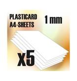Green Stuff World GSW ABS Plasticard A4 - 1 mm COMBOx5 sheets