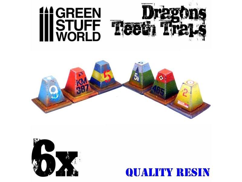 Green Stuff World GSW 6x Resin Dragon Teeth Traps for Tanks