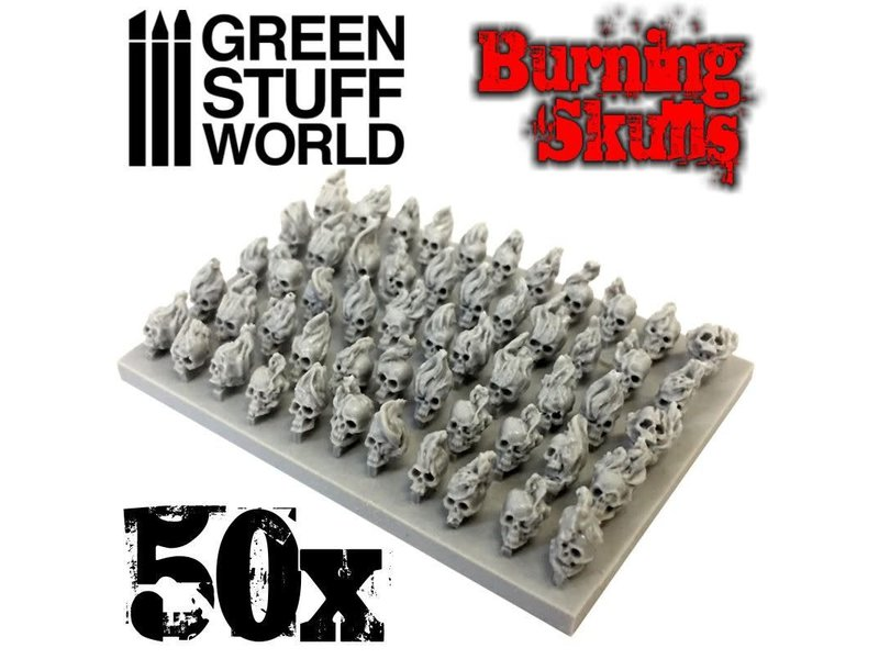 Green Stuff World GSW 50x Resin Burning Skulls