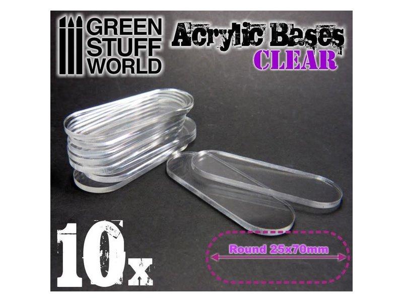 Green Stuff World GSW Acrylic Bases - Oval Pill 25x70mm CLEAR