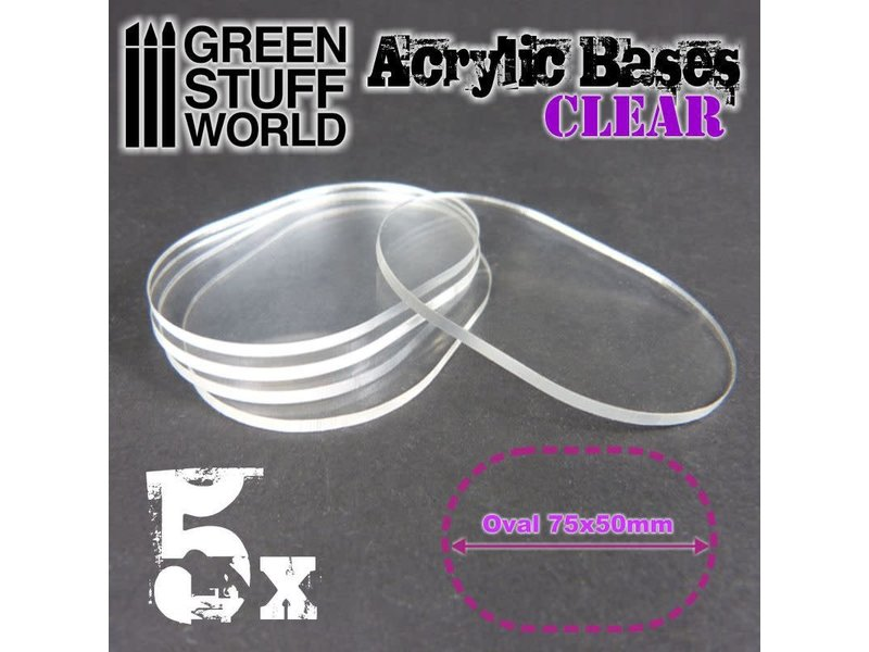 Green Stuff World GSW Acrylic Bases - Oval Pill 75x50mm CLEAR