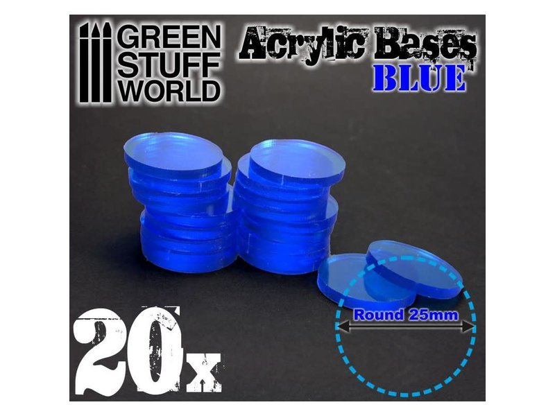 Green Stuff World GSW Acrylic Bases - Round 25 mm CLEAR BLUE
