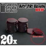 Green Stuff World GSW Acrylic Bases - Round 25 mm CLEAR RED