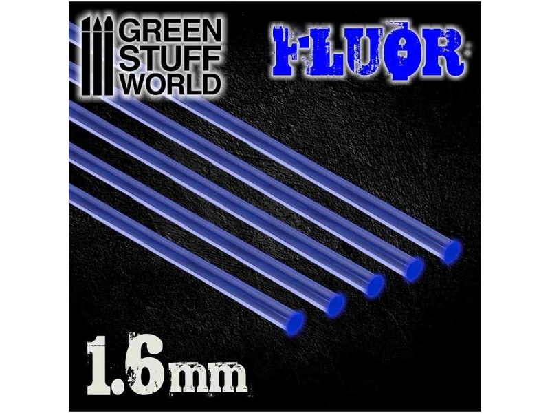 Green Stuff World GSW Acrylic Rods - Round 1.6 mm Fluor BLUE