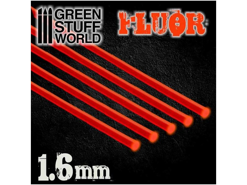 Green Stuff World GSW Acrylic Rods - Round 1.6 mm Fluor RED-ORANGE
