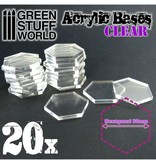 Green Stuff World GSW Acrylic Bases - Hexagonal 30 mm CLEAR