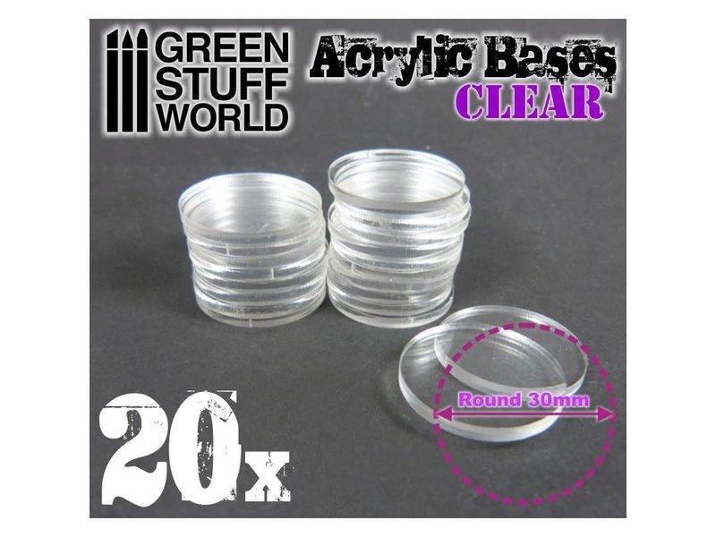 Green Stuff World GSW Acrylic Bases - Round 30 mm CLEAR
