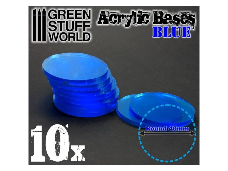 Green Stuff World GSW Acrylic Bases - Round 40 mm CLEAR BLUE