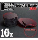 Green Stuff World GSW Acrylic Bases - Round 40 mm CLEAR RED