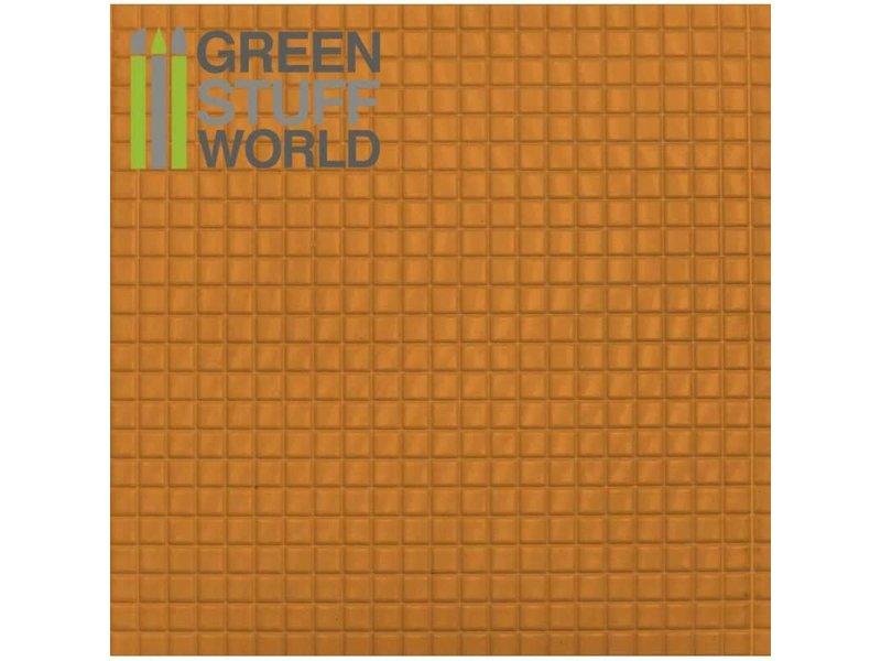 Green Stuff World GSW ABS Plasticard - MEDIUM SQUARES Textured Sheet - A4