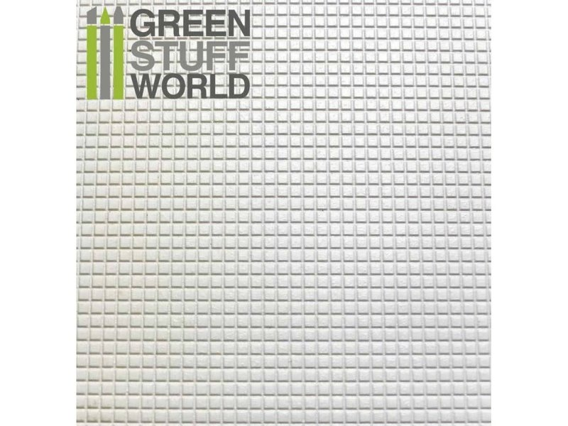 Green Stuff World GSW ABS Plasticard - SMALL SQUARES Textured Sheet - A4