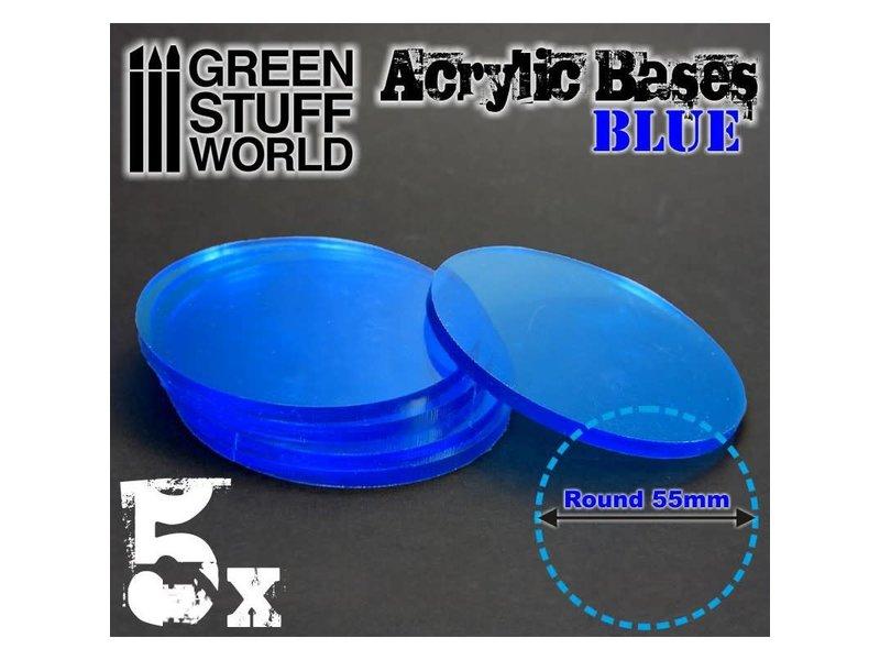 Green Stuff World GSW Acrylic Bases - Round 55 mm CLEAR BLUE