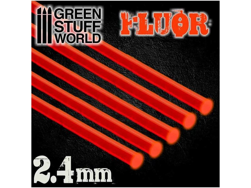 Green Stuff World GSW Acrylic Rods - Round 2.4 mm Fluor RED-ORANGE