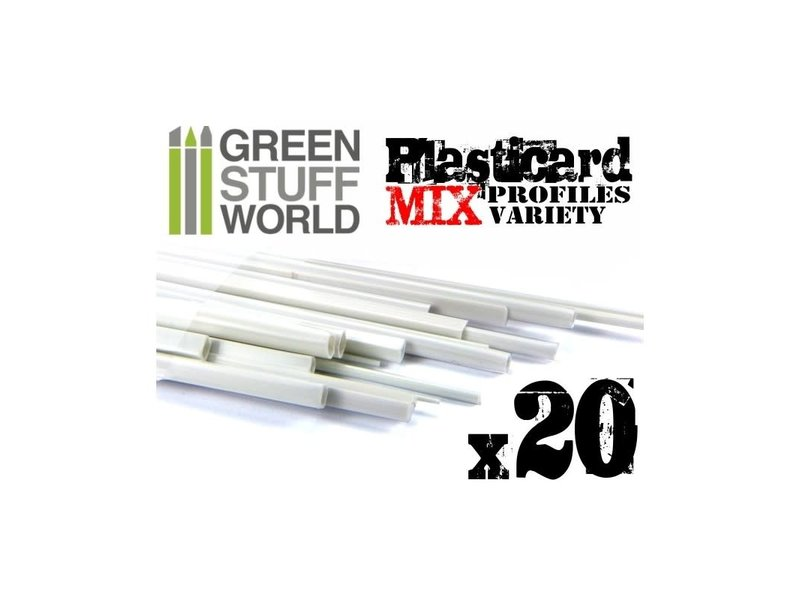 Green Stuff World GSW ABS Plasticard - Profile - 20x Variety Pack