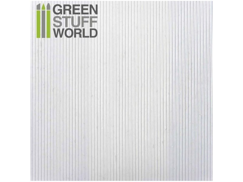 Green Stuff World GSW ABS Plasticard - CORRUGATED 0.5mm Textured Sheet - A4