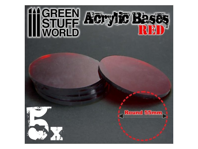 Green Stuff World GSW Acrylic Bases - Round 55 mm CLEAR RED
