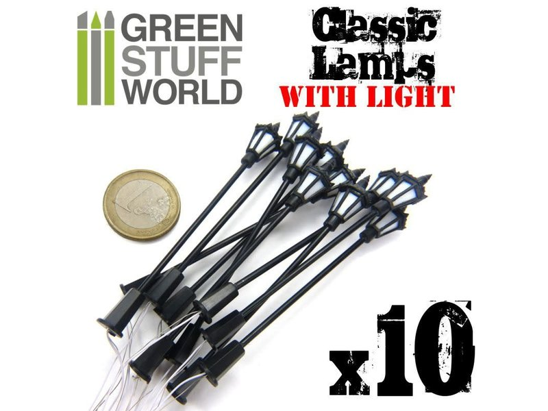 Green Stuff World GSW 10x Classic Lamps with LED Lights