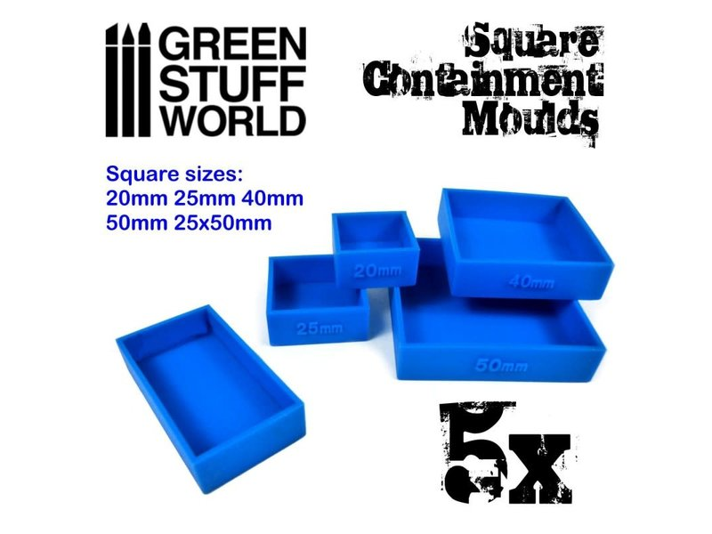 Green Stuff World GSW 5x Containment Moulds for Bases - Square