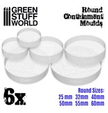 Green Stuff World GSW 6x Containment Moulds for Bases - Round