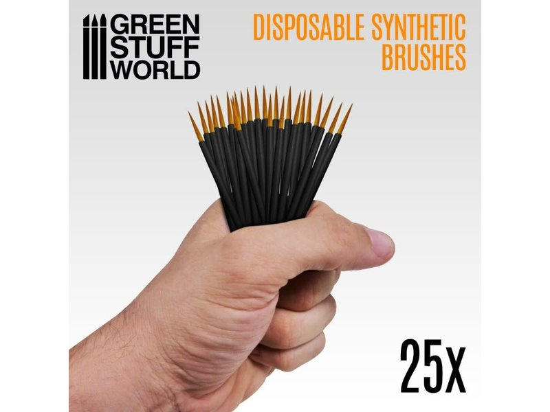 Green Stuff World GSW 25x Disposable Synthetic Brushes