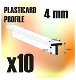 Green Stuff World GSW ABS Plasticard - T-Profile 4mm