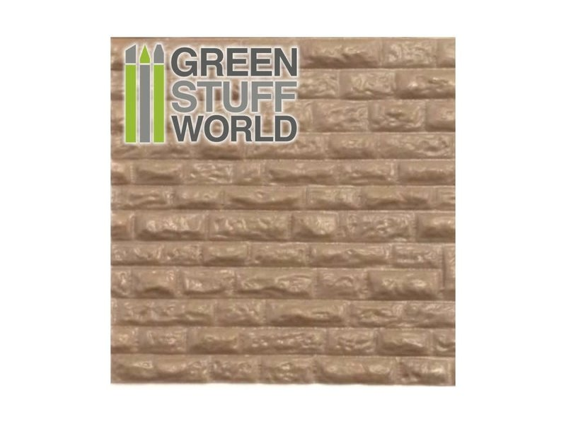 Green Stuff World GSW ABS Plasticard - ROUGH ROCK WALL Textured Sheet - A4