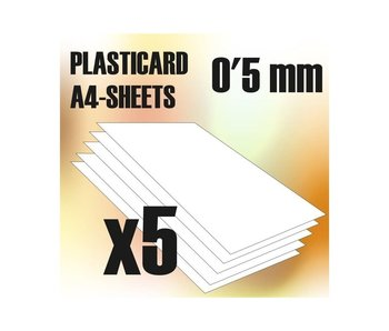 GSW ABS Plasticard A4 - 0.5 mm COMBOx5 sheets