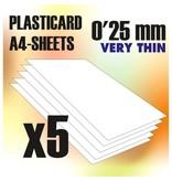 Green Stuff World GSW ABS Plasticard A4 - 0.25 mm COMBOx5 sheets