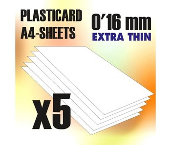 GSW ABS Plasticard A4 - 0.16mm COMBOx5 sheets
