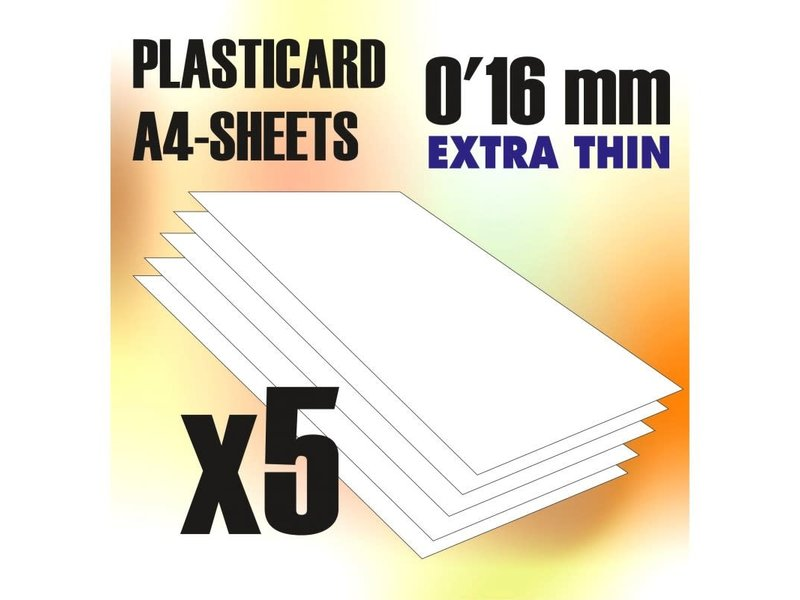 Green Stuff World GSW ABS Plasticard A4 - 0.16mm COMBOx5 sheets