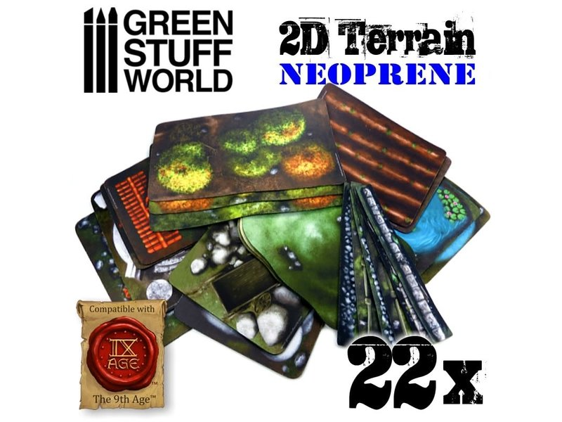 Green Stuff World GSW 2D Neoprene Terrain set - 22 pieces