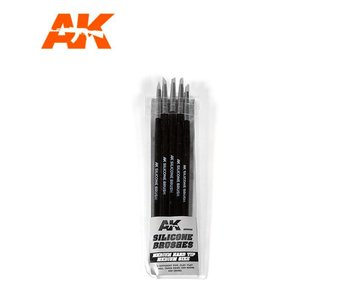 Ak Interactive Silicone Brushes Medium Hard Tip, Medium - - 5Pk