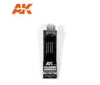 Ak Interactive Silicone Brushes Medium Hard Tip, Small - 5Pk