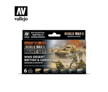 WWII Desert British & German Armour & Infantry Paint Set (6 Colors) (70.208)