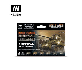 WWII American Armour & Infantry Paint Set (6 Colors) (70.203)