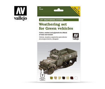 Green Vehicles Afv Weathering System Paint Set (7 Colors) (78.406)