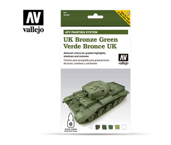 Uk Bronze Green Afv Paint Set (6 Colors) (78.407)