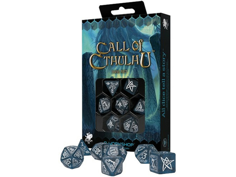 7 Dice Set- Call Of Cthulhu - 7Th Edition Abyssal/ White