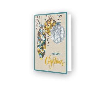 Diamond Dotz Merry Xmas Baubles Antique Card